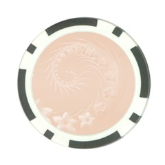 Pastel Brown Abstract Flowers Poker Chip
