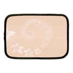 Pastel Brown Abstract Flowers Netbook Case (Medium)