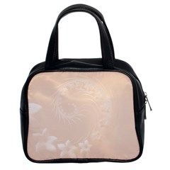 Pastel Brown Abstract Flowers Classic Handbag (Two Sides)