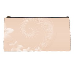 Pastel Brown Abstract Flowers Pencil Case