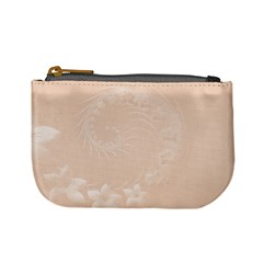 Pastel Brown Abstract Flowers Coin Change Purse
