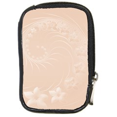 Pastel Brown Abstract Flowers Compact Camera Leather Case