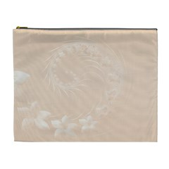 Pastel Brown Abstract Flowers Cosmetic Bag (XL)