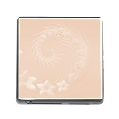 Pastel Brown Abstract Flowers Memory Card Reader With Storage (square)