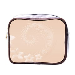 Pastel Brown Abstract Flowers Mini Travel Toiletry Bag (One Side)