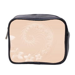 Pastel Brown Abstract Flowers Mini Travel Toiletry Bag (two Sides)