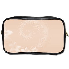 Pastel Brown Abstract Flowers Travel Toiletry Bag (two Sides)