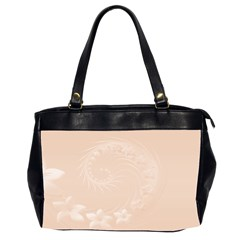 Pastel Brown Abstract Flowers Oversize Office Handbag (two Sides)