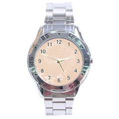 Pastel Brown Abstract Flowers Stainless Steel Watch (Men s)