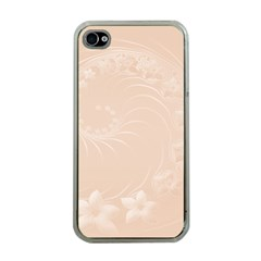 Pastel Brown Abstract Flowers Apple iPhone 4 Case (Clear)