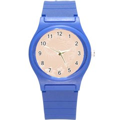 Pastel Brown Abstract Flowers Plastic Sport Watch (Small)