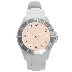 Pastel Brown Abstract Flowers Plastic Sport Watch (Large)