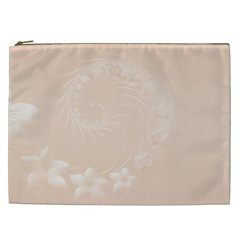 Pastel Brown Abstract Flowers Cosmetic Bag (xxl)