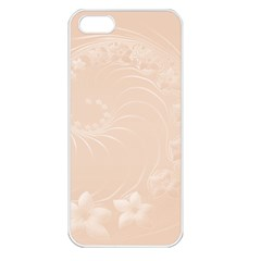Pastel Brown Abstract Flowers Apple iPhone 5 Seamless Case (White)
