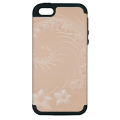 Pastel Brown Abstract Flowers Apple iPhone 5 Hardshell Case (PC+Silicone)