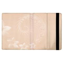 Pastel Brown Abstract Flowers Apple iPad 3/4 Flip Case