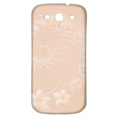 Pastel Brown Abstract Flowers Samsung Galaxy S3 S III Classic Hardshell Back Case