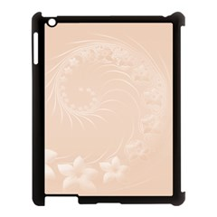 Pastel Brown Abstract Flowers Apple iPad 3/4 Case (Black)