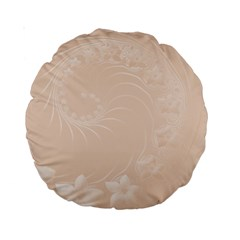Pastel Brown Abstract Flowers 15  Premium Round Cushion