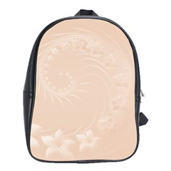 Pastel Brown Abstract Flowers School Bag (xl)
