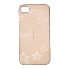 Pastel Brown Abstract Flowers Apple iPhone 4/4S Hardshell Case with Stand