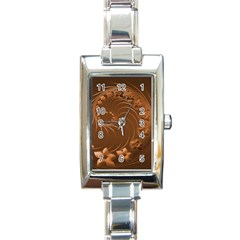 Brown Abstract Flowers Rectangular Italian Charm Watch