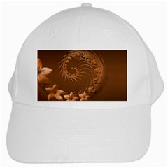 Brown Abstract Flowers White Baseball Cap