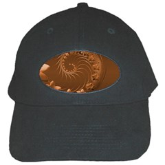 Brown Abstract Flowers Black Baseball Cap