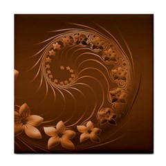 Brown Abstract Flowers Ceramic Tile