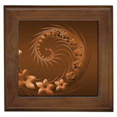 Brown Abstract Flowers Framed Ceramic Tile