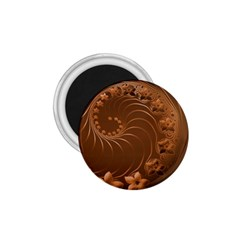 Brown Abstract Flowers 1.75  Button Magnet