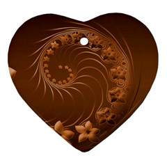 Brown Abstract Flowers Heart Ornament