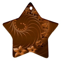 Brown Abstract Flowers Star Ornament
