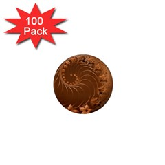 Brown Abstract Flowers 1  Mini Button Magnet (100 pack)