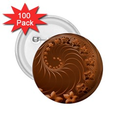 Brown Abstract Flowers 2.25  Button (100 pack)