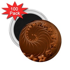 Brown Abstract Flowers 2.25  Button Magnet (100 pack)