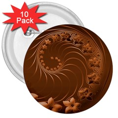 Brown Abstract Flowers 3  Button (10 pack)