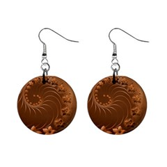 Brown Abstract Flowers Mini Button Earrings