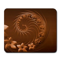 Brown Abstract Flowers Large Mouse Pad (Rectangle)