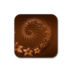 Brown Abstract Flowers Drink Coasters 4 Pack (square)