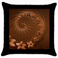 Brown Abstract Flowers Black Throw Pillow Case