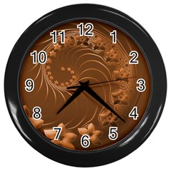 Brown Abstract Flowers Wall Clock (black)