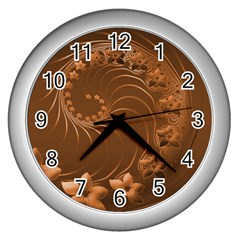 Brown Abstract Flowers Wall Clock (silver)
