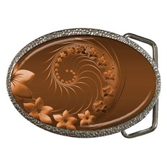 Brown Abstract Flowers Belt Buckle (oval)