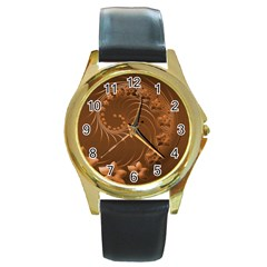 Brown Abstract Flowers Round Metal Watch (Gold Rim)