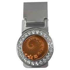 Brown Abstract Flowers Money Clip (cz)