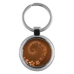 Brown Abstract Flowers Key Chain (round)