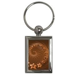 Brown Abstract Flowers Key Chain (rectangle)