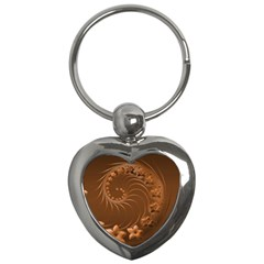 Brown Abstract Flowers Key Chain (heart)