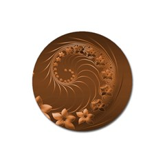 Brown Abstract Flowers Magnet 3  (round)